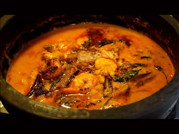 how to make Kerala style prawns mango curry