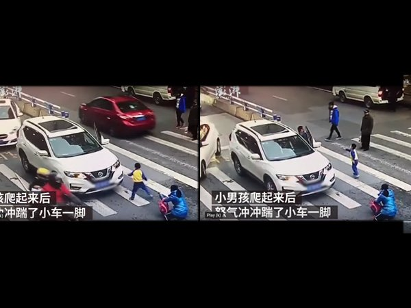 Chinese Boy Kicks The Car After It Hits His Mother, Viral Video