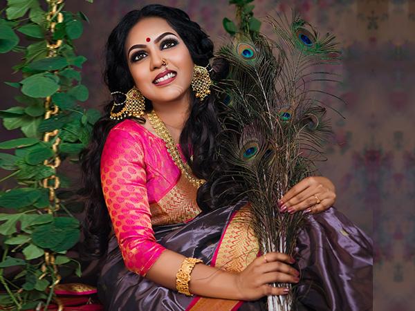 Shining on the sari
