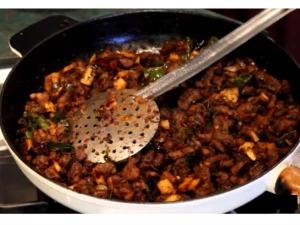 Kerala Style Beef Ularthiyathu With Thenga Kothu
